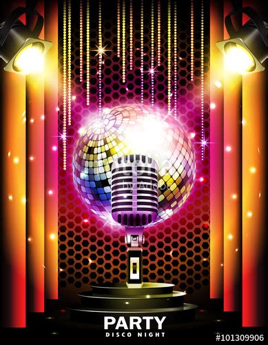 imagenes retro karaoke quot stage with podium retro microphone disco ball and