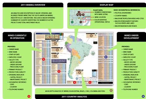 south america mining industry wall map  edition