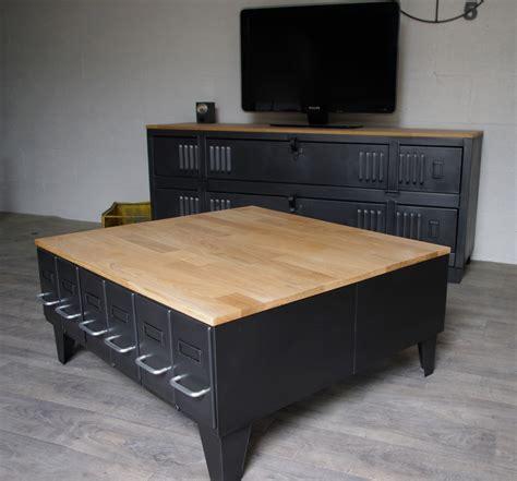 Table Basse Avec Tiroirs by Grande Table Basse Industrielle Avec Tiroirs M 233 Tal Et Bois