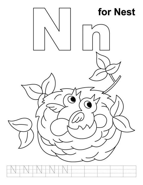 N For Nest Coloring Page letter n coloring pages coloring home