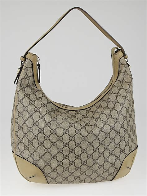 gucci beige gg supreme coated canvas hobo bag handbags 10015751