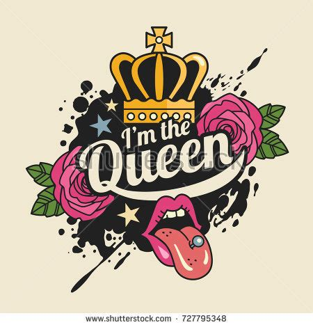 i m queen tshirt print concept vector illustration stock