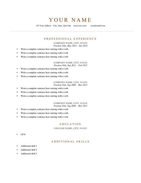 Resume Templates by 80 Free Professional Resume Exles By Industry