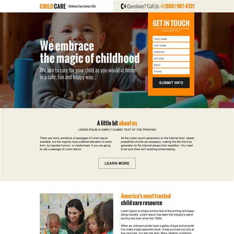 child care responsive landing page designs