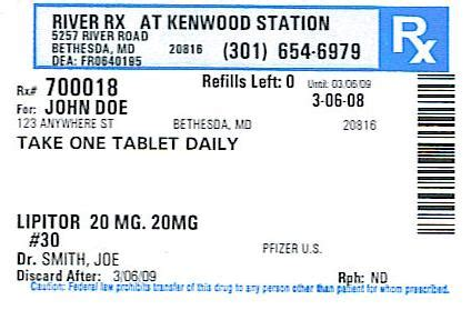 Fake Prescription Bottle Label Template