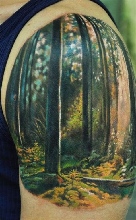 watercolor tree tattoo sleeve watercolor trees in forest on half sleeve