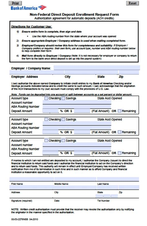 Bank Letter Specification Sheet Bank Of America Direct Deposit Form Pdf Wikidownload