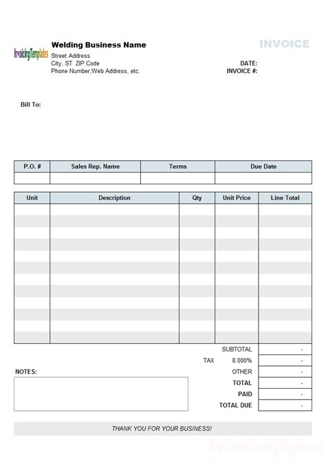 Welding Templates simple welding invoice template