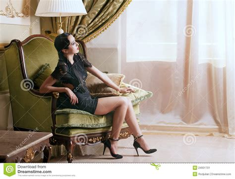 woman in armchair retro style woman in armchair stock image image 24931701