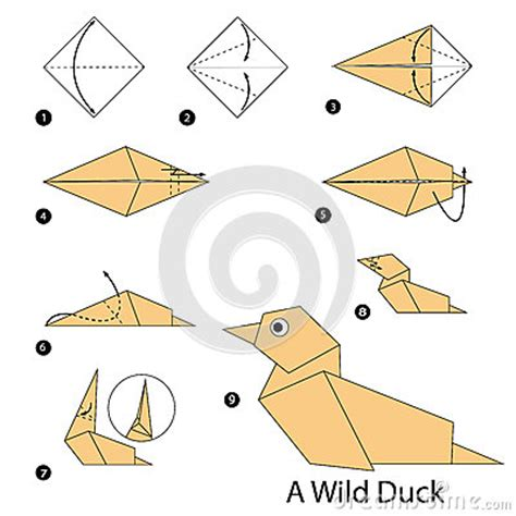 How To Make An Origami Duck - step by step how to make origami a duck