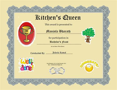 free certificate templates for cooking contest just b cause