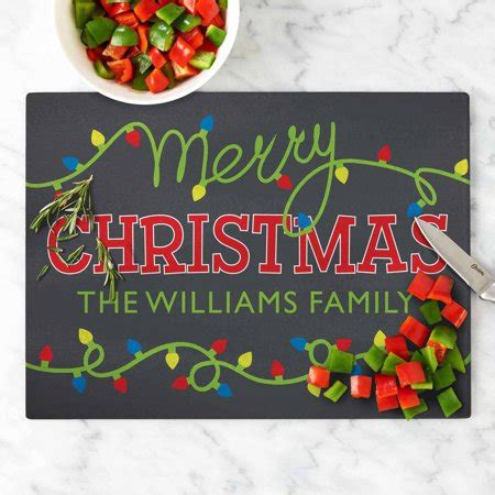 christmas lights cutting personalized merry lights glass cutting board walmart