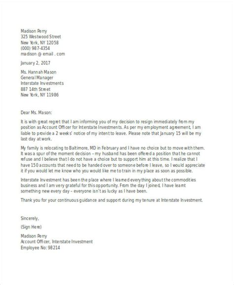 Resignation Letter For Relocation by 49 Resignation Letter Exles
