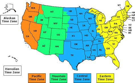 us map with states and timezones us time zones