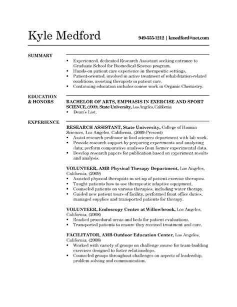 Resume Template For Research Assistant Research Assistant Resume Exle Sle