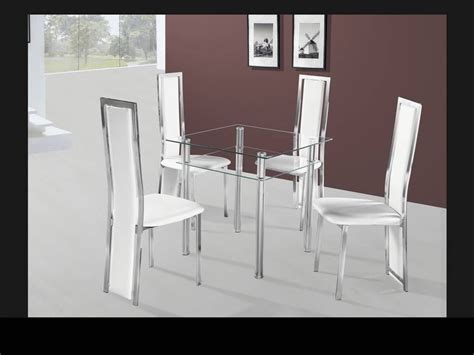 small square clear glass dining table and 4 chairs