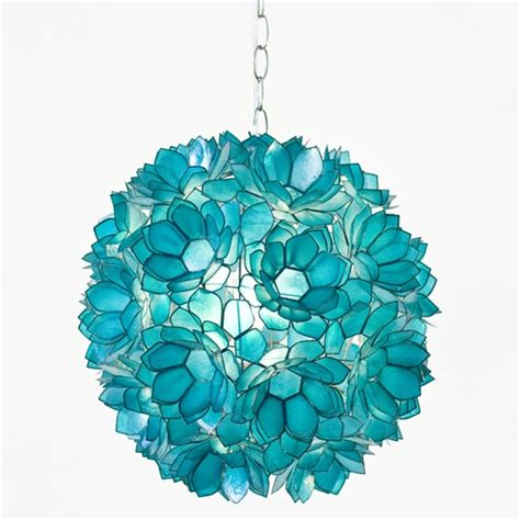 White Murano Glass Chandelier Turquoise Pendant Light