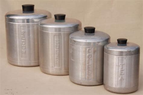 vintage canisters for kitchen vintage spun aluminum canisters mid century retro kitchen