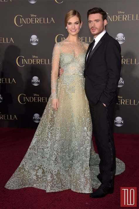 cinderella film premiere lily james and richard madden at the cinderella la