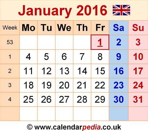 Jan Calendar 2016 Calendar January 2016 Uk Bank Holidays Excel Pdf Word