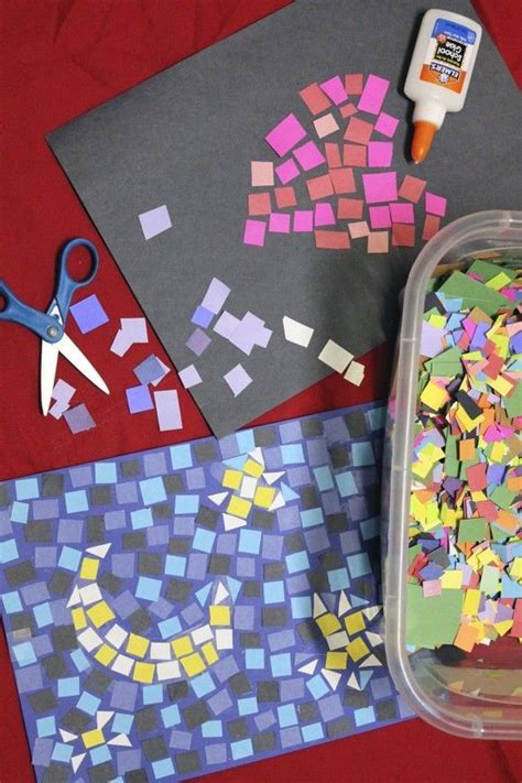 Easy Arts And Crafts With Construction Paper - paper mosaics craft diy construction paper