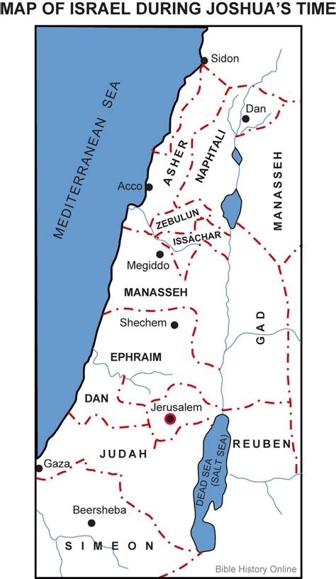 testament maps map of israel during joshua s time bible history