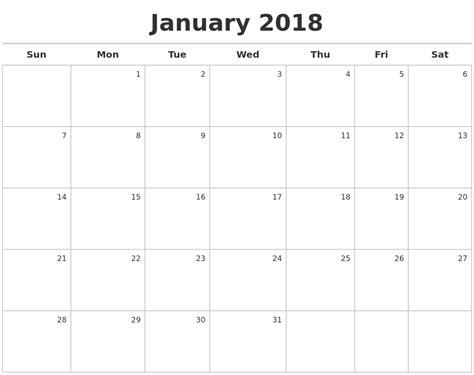 free printable monthly calendar creator january 2018 calendar maker