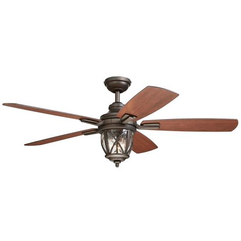 farmhouse ceiling fan lowes shop allen roth castine 52 in rubbed bronze downrod or