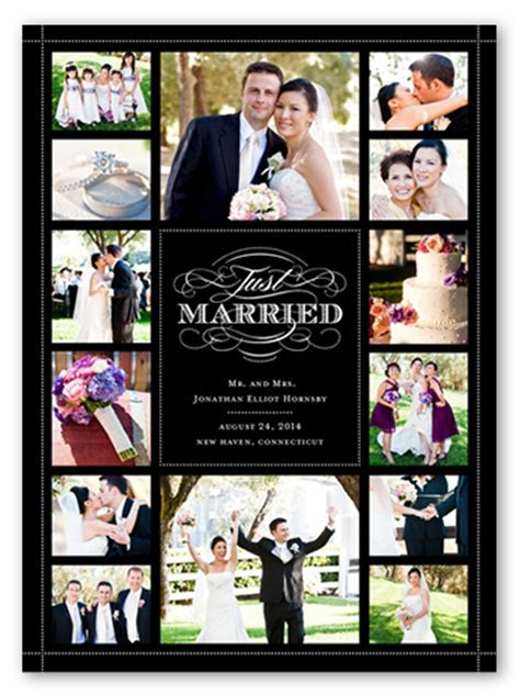 Classic Scroll Collage 6x8 Wedding Announcements   Shutterfly