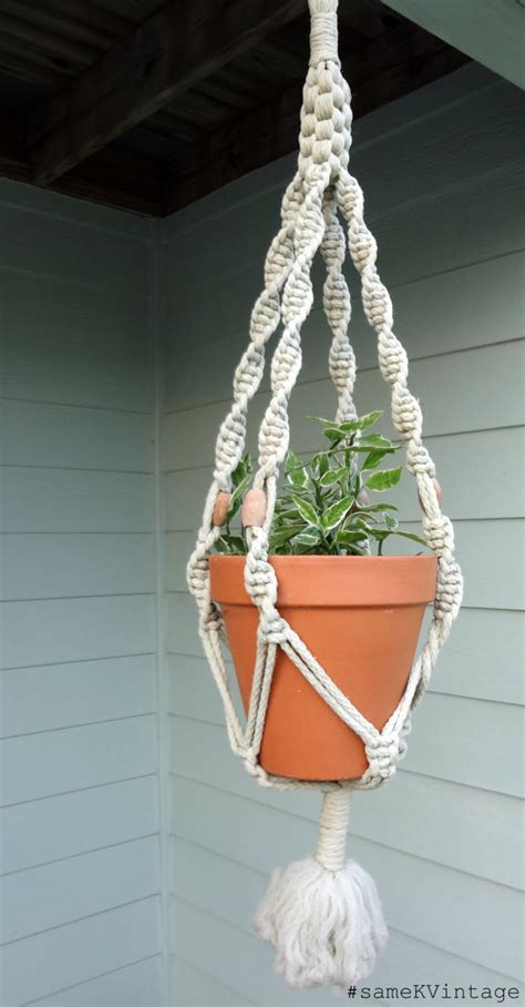 Simple Macrame Projects - vintage macrame plant hanger 1960s wooden by