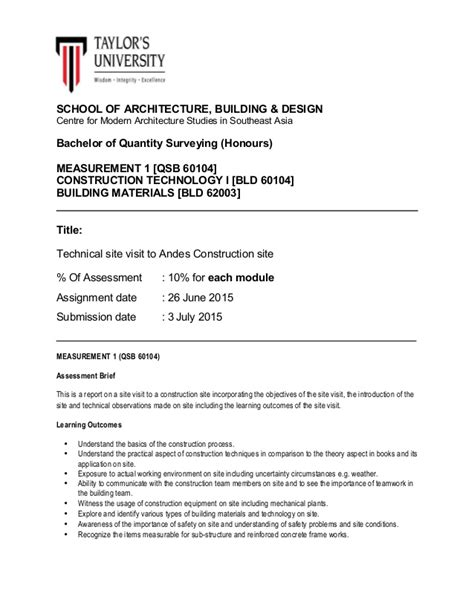 design brief assignment assignment brief for site report bqs