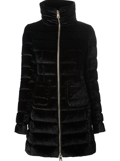 Trim Velvet Padded Coat herno padded velvet coat in black lyst