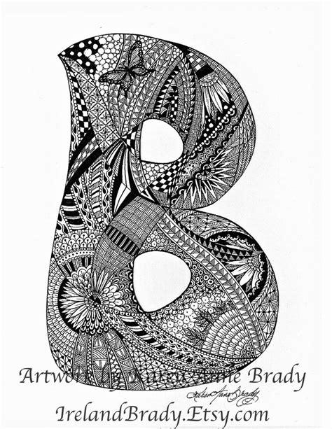 printable zentangle alphabet aceo alphabet letter b zentangle doodle initial monogram