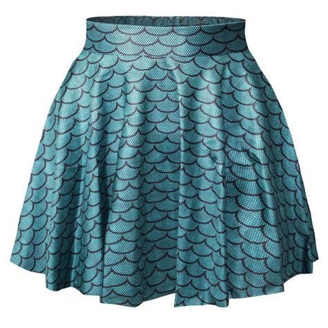 blue satin mini pleated skirt with scales pattern