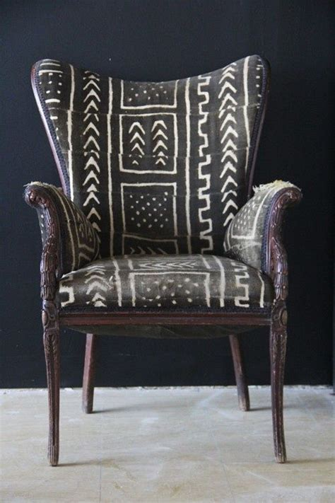 Tribal Pattern Chair | mud cloth covered chair with black and white tribal
