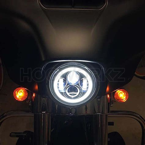 7 Quot Led Black Halomaker Headlight Harley Daymaker Replacement Led Lights Headlights