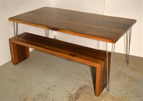 walnut dining table and bench walnut dining table matching waterfall bench by wicked