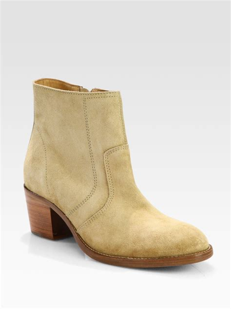a p c suede ankle boots in beige lyst