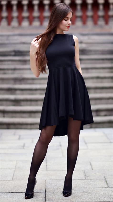 black dress  long  black stockings  patent