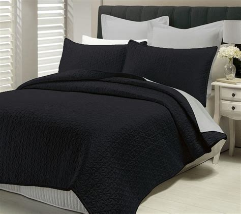 black bed spread 3 pcs quilted coverlet bedspread set queen king size bed savoy black ebay