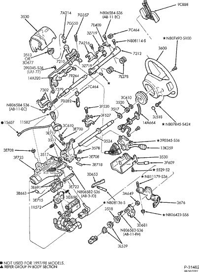 exploded view for the 2000 Ford F 150 Non-tilt | Steering