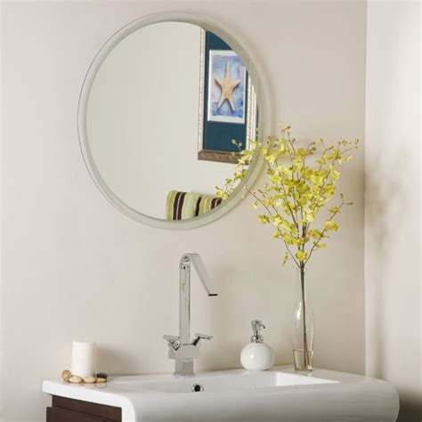 frameless bathroom mirror large round frameless bathroom mirror dcg stores