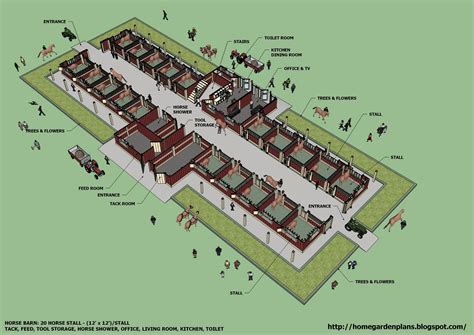 Horse Barn Blueprints | home garden plans b20h large horse barn for 20 horse