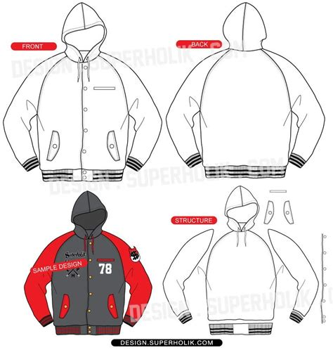 bomber jacket design template hooded raglan varsity jacket sewing pattern pinterest