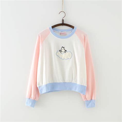Harajuku New new harajuku block color moomin sweaters