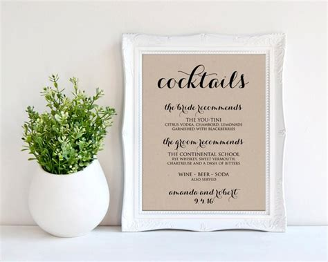 signature cocktail sign wedding drink menu printable