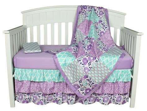 purple baby bedding zoe 4 in 1 crib infant bedding set by the peanut shell jet