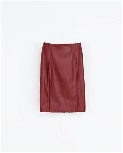 zara faux leather skirt in maroon lyst