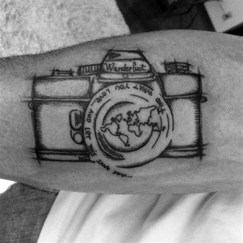 photography tattoo mens inner forearm wanderlust sketched