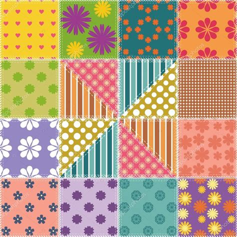 Different Types Of Patchwork - patchwork background with different patterns stock